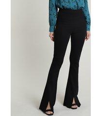 calça feminina flare cintura alta com recortes e fenda preta