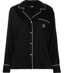 karl lagerfeld logo embroidered pajama top - black