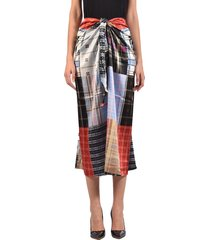 ganni patchwork silk skirt