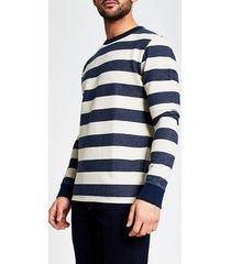river island mens selected homme navy stripe sweatshirt