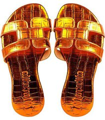 chinelo rasteira mercedita shoes estampa metalizada casual - feminino