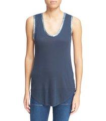 women's zadig & voltaire tam scoop neck tank, size medium - blue