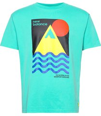 athletics trail revel t-shirt t-shirts short-sleeved blå new balance