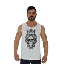 regata clássica masculina alto conceito owl and skull branco
