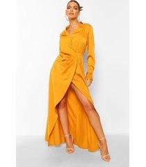 gedrappeerde maxi wikkel jurk met laag decolleté, mustard