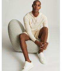 reiss ruler - cashmere hoodie in ecru, mens, size xxl