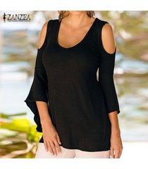 zanzea mujeres hombro asimétrico de manga tops elástico blusa de la camiseta negro -negro