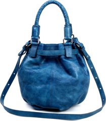 old trend pumpkin leather bucket bag