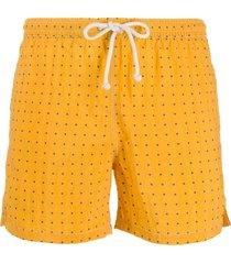 kiton polka dot print swim shorts - yellow
