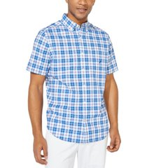 nautica men's big & tall navtech performance stretch casual plaid short sleeve shirt