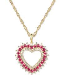 "certified ruby (1-1/10 ct.t.w.) & diamond (1/3 ct. t.w.) heart 18"" pendant necklace in 14k gold"