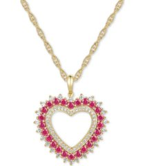 "certified ruby (1-1/10 ct.t.w.) & diamond (1/3 ct. t.w.) heart 18"" pendant necklace in 14k gold"