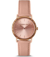 original grain women's rose gold paired with plush genuine leather band watch 34mm