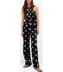 mango polka-dot belt jumpsuit