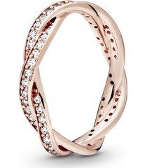 anel pandora rose brilho entrelaçado