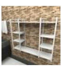 prateleira industrial banheiro aço cor branco 120x30x98cm (c)x(l)x(a) cor mdf branco modelo ind45bb