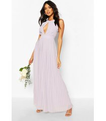 bridesmaid occasion pleated panel detail maxi dress, grey