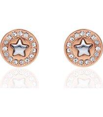 orecchini a lobo in acciaio rosato con stella e strass per donna