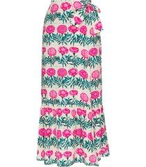 adriana degreas floral-print silk midi wrap skirt - white