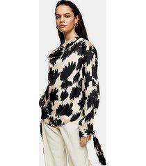 *black floral print cowl neck blouse by topshop boutique - black