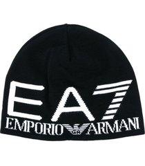 ea7 emporio armani intarsia knit logo beanie - black