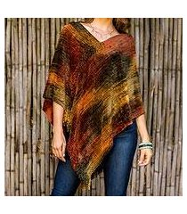cotton blend poncho, 'magical dusk' (guatemala)