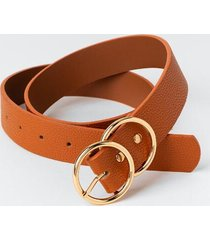 amira double circle buckle belt - cognac