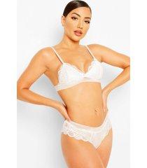 lace bralet & brazilian set, white