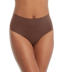 women's spanx everyday shaping panties thong, size small - beige