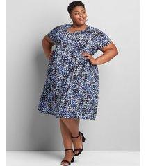 lane bryant women's short-sleeve babydoll fit & flare dress 26/28 blue geo print