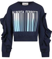 alberta ferretti blue sweatshirt for girl with logo