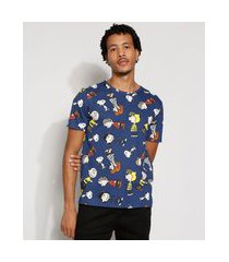 camiseta masculina estampada manga snoopy curta gola careca azul marinho
