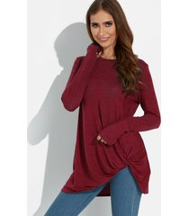 borgoña cruzado frontal diseño llanura cuello redondo mangas largas camisetas