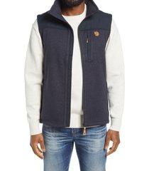 men's fjallraven buck fleece zip vest, size small - blue