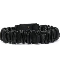 federica tosi ruched leather belt - black