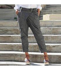 zanzea mujeres pantalones casual cinturón de lazo bolsillos llenos de longitud más señoras del tamaño pantalones -gris oscuro