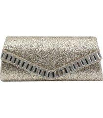 bolsa clutch liage envelope tecido brilhante brilho bordada pedra strass glitter alça metal dourada - kanui
