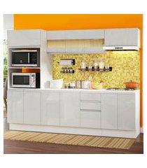 cozinha completa 100% mdf madesa smart 250 cm modulada com balcáo e tampo - frentes branco brilho branco