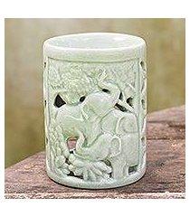 ceramic oil warmer, 'happy forest' (thailand)