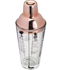 coqueteleira lyor de vidro com tampa em inox rosé 420ml