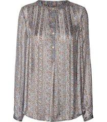 blouse met bloemenprint singh  blauw