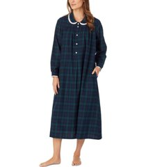lanz of salzburg cotton lace-trim flannel nightgown