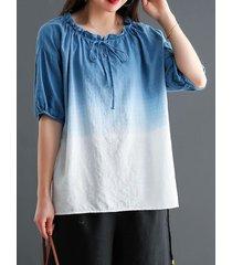 camicetta da donna mezza manica annodata con scollo a o sfumato di colore