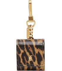 burberry leopard print leather earphone case - brown