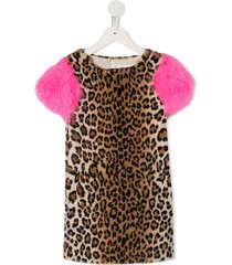 charabia fluffy sleeve party dress - brown