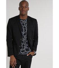 blazer masculino com dois botões gola tailleur preto