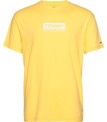 tjm white box logo tee t-shirts short-sleeved gul tommy jeans