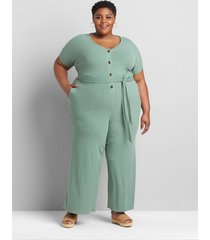 lane bryant women's ribbed belted jumpsuit 26/28 lush palm
