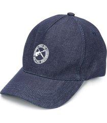 a.p.c. logo print beanie - blue