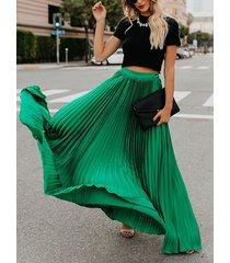 falda larga de cintura elástica de gasa con diseño plisado